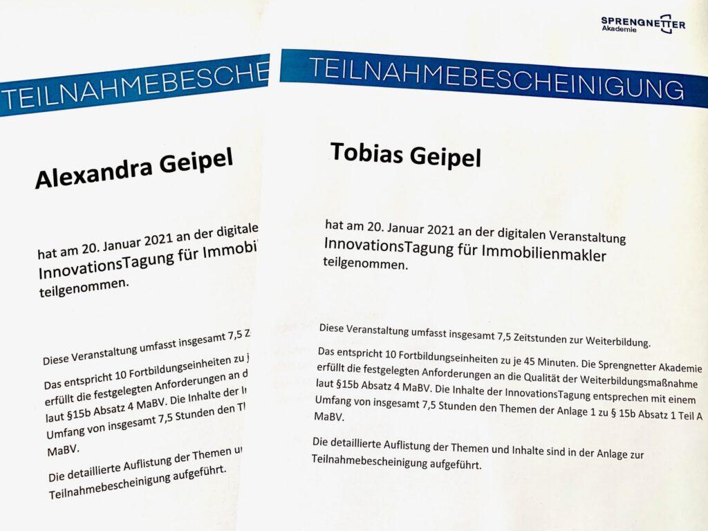 Teilnahmebescheinigung Alexandra und Tobias Geipel - Sprengnetter 2021