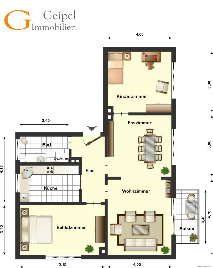 Mit Balkon und Einbauküche - Grundriss