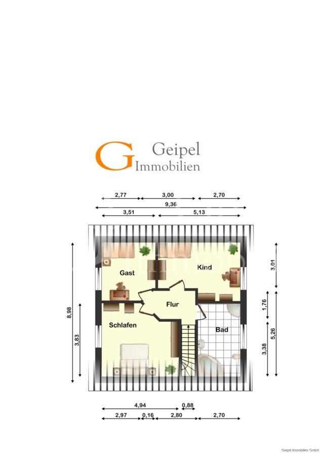 VERMIETET Einfamilienhaus mit Garten und Carport - Dachgeschoss