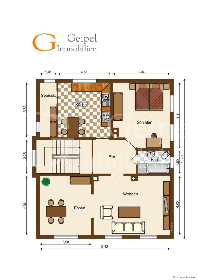 VERMIETET Wohnung mit Treppenlifter - Grundriss Obergeschoss