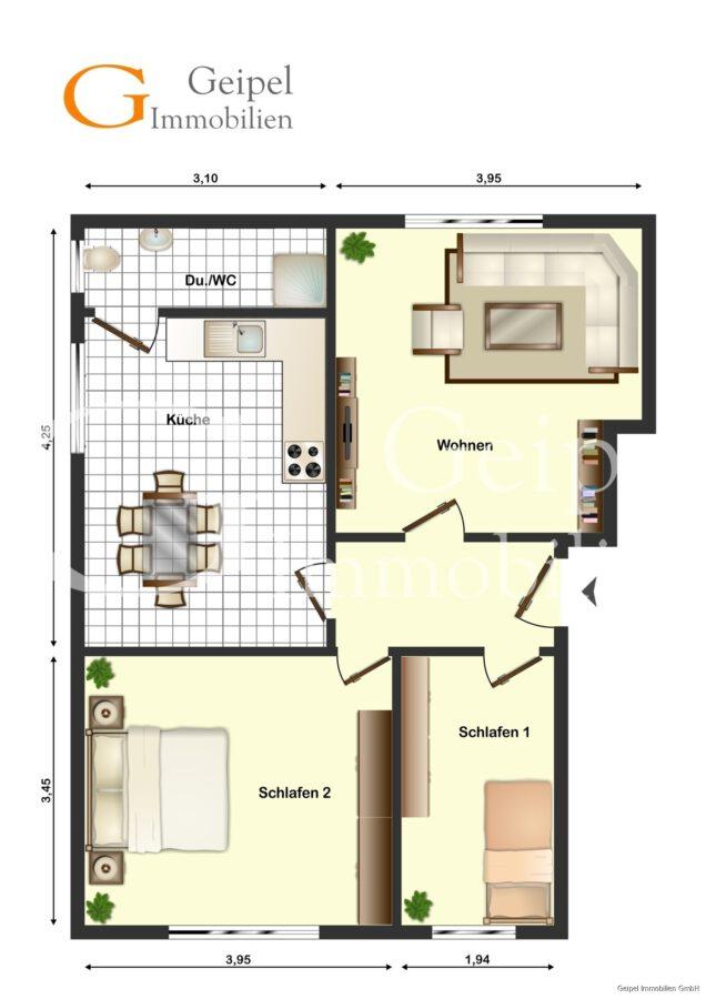 VERKAUFT Günstige Wohnung, Renovierung erforderlich - Grundriss