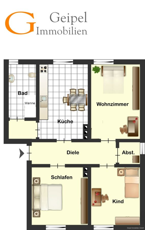 VERMIETET gepflegte Wohnung in Warzen - Grundriss