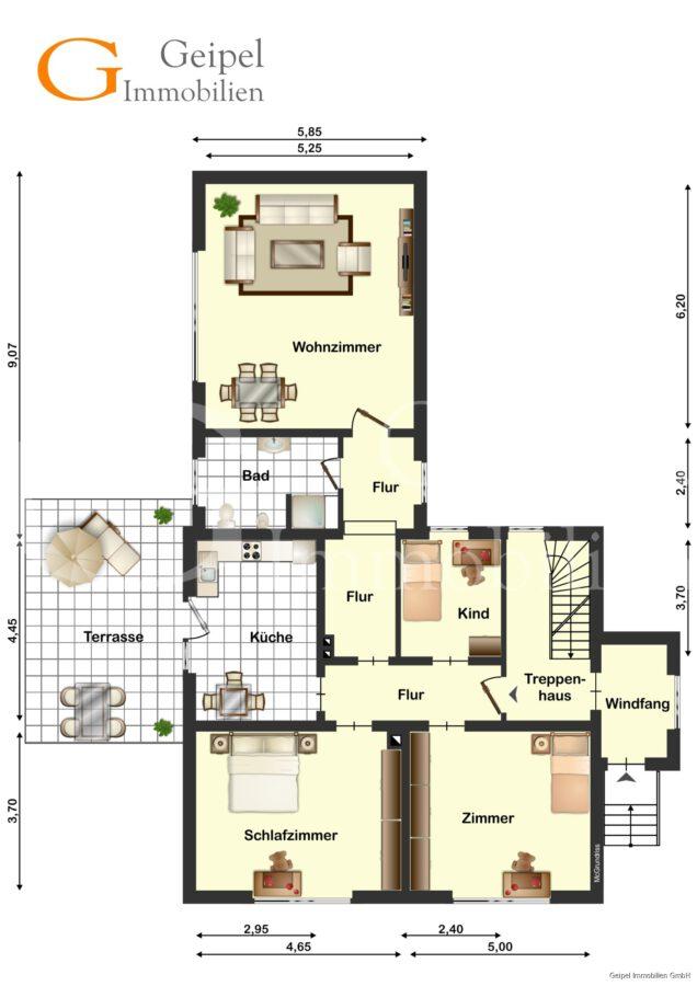 hochwertige Erdgeschosswohnung mit Terrasse - Grundriss