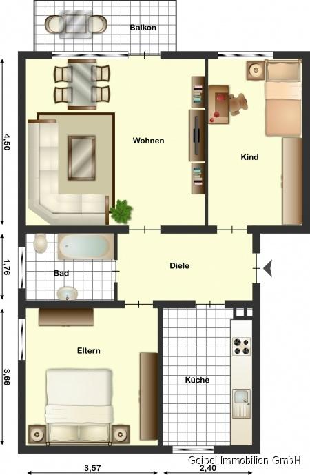 VERMIETET Mittendrin und trotzdem ruhig! mit Balkon und Einbauküche - Grundriss