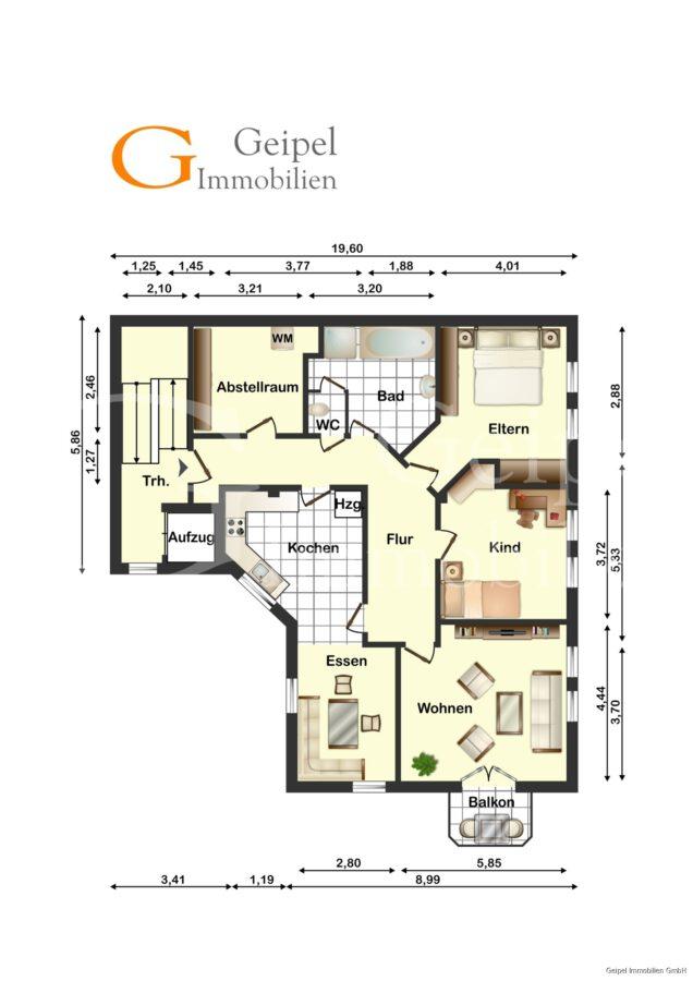 VERMIETET Balkon, Fahrstuhl, Innenstadt - 5680 - Grundriss