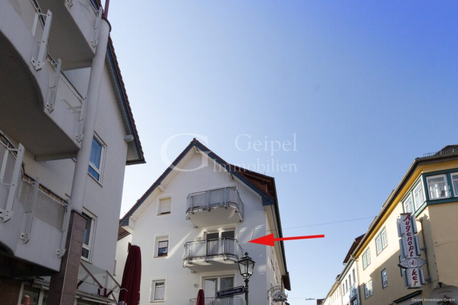 VERMIETET Balkon, Fahrstuhl, Innenstadt - Ansicht mit Markierung